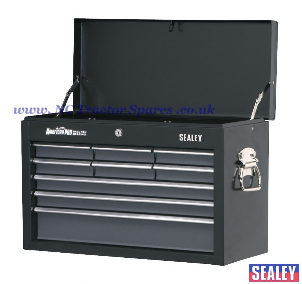 Topchest 9 Drawer with Ball Bearing Runners - Black/Grey